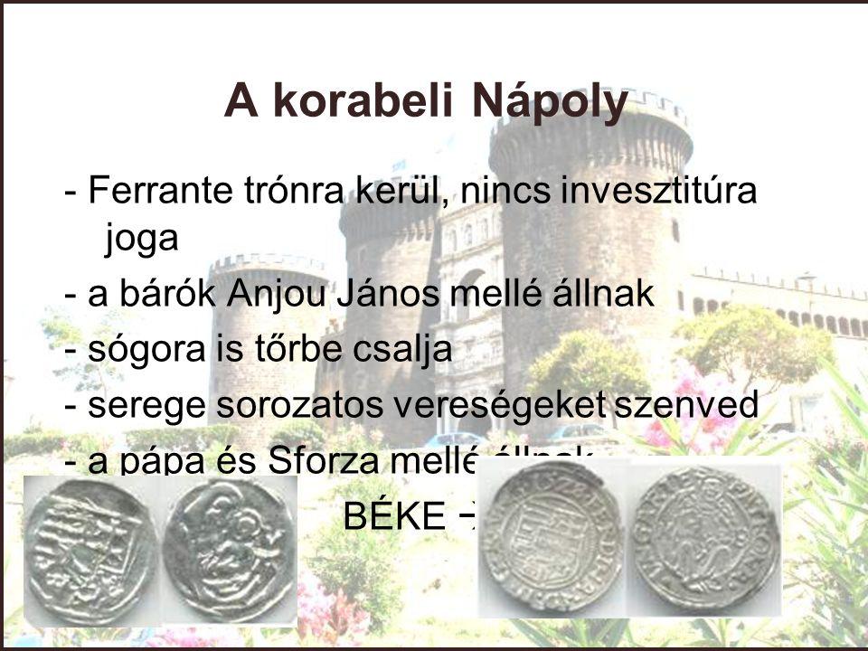 A korabeli Nápoly - Ferrante trónra kerül, nincs invesztitúra joga - a bárók Anjou János mellé állnak - sógora is tőrbe csalja - serege sorozatos vere