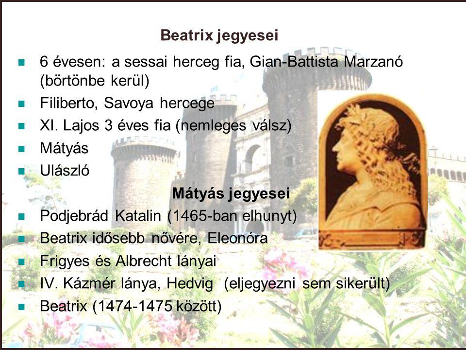 Beatrix jegyesei 6 évesen: a sessai herceg fia, Gian-Battista Marzanó (börtönbe kerül) Filiberto, Savoya hercege XI. Lajos 3 éves fia (nemleges válsz