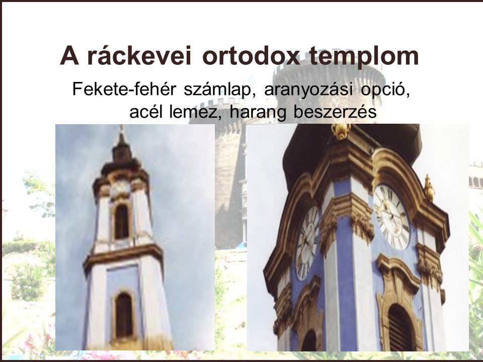 A ráckevei ortodox templom Fekete-fehér számlap, aranyozási opció, acél lemez, harang beszerzés