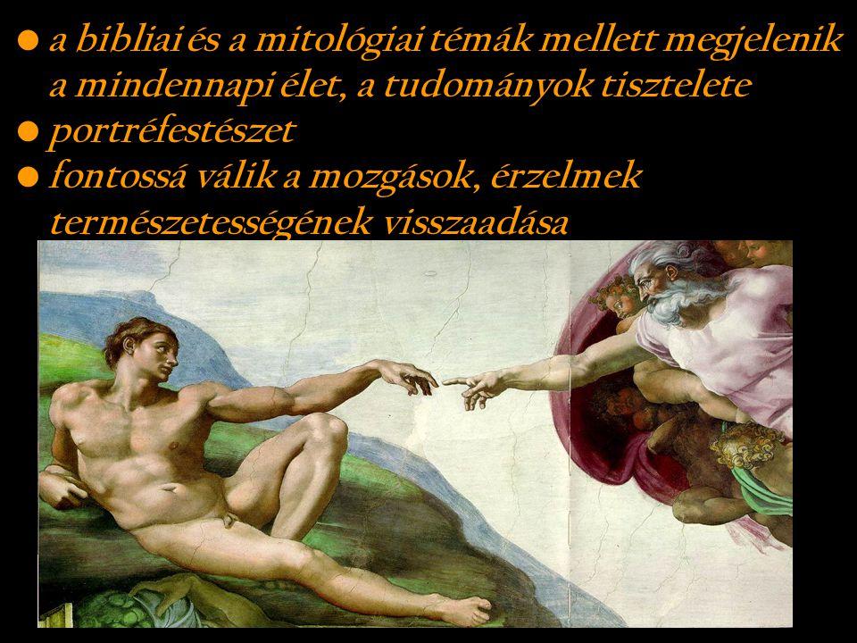 a bibliai és a mitológiai témák mellett megjelenik a mindennapi élet, a tudományok tisztelete portréfestészet fontossá válik a mozgások, érzelmek term