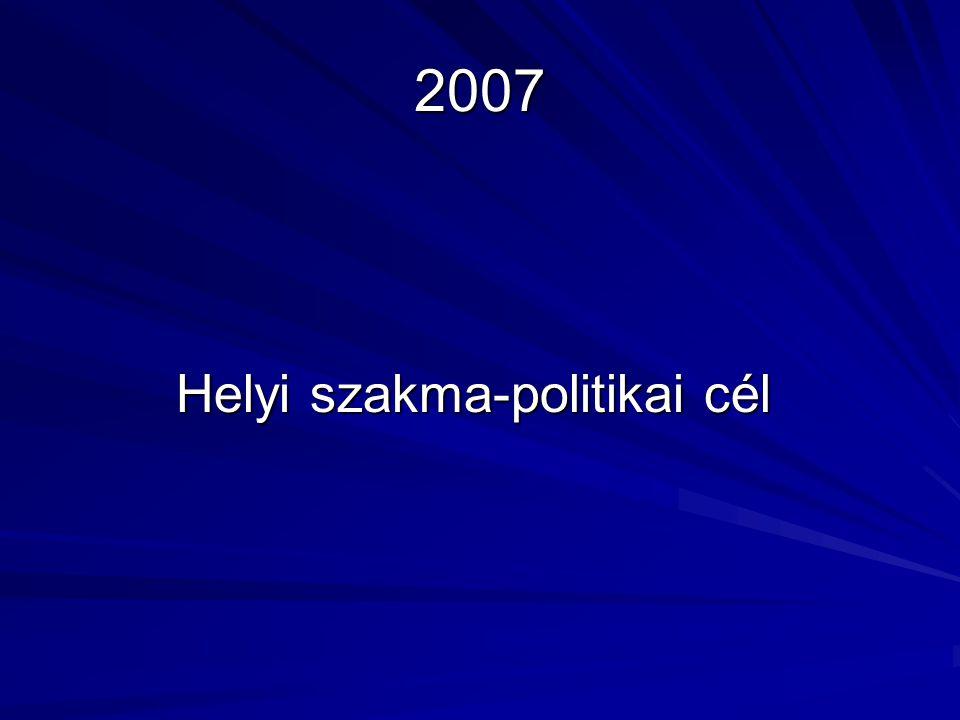 2007 Helyi szakma-politikai cél Helyi szakma-politikai cél