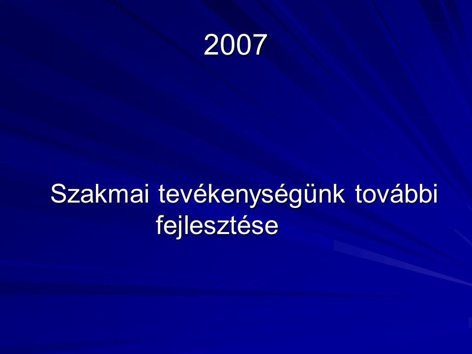 2007 Szakmai tevékenységünk további fejlesztése Szakmai tevékenységünk további fejlesztése