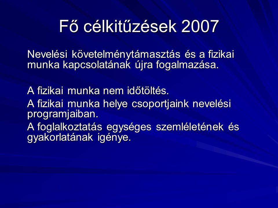 Fő célkitűzések 2007 Nevelési követelménytámasztás és a fizikai munka kapcsolatának újra fogalmazása.