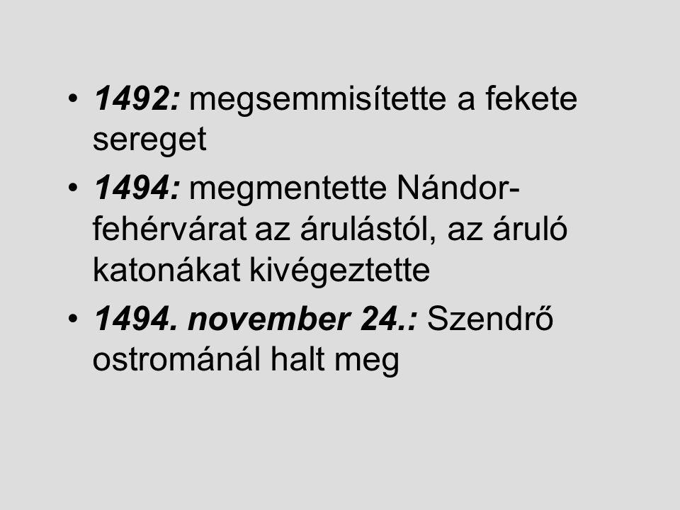 1492: megsemmisítette a fekete sereget 1494: megmentette Nándor- fehérvárat az árulástól, az áruló katonákat kivégeztette 1494. november 24.: Szendrő
