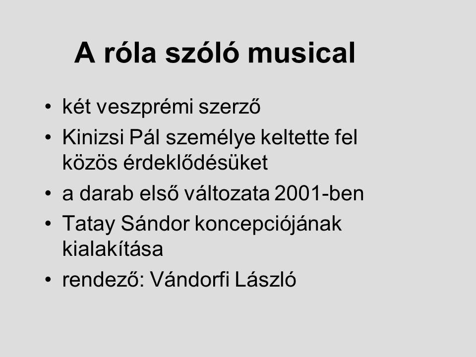 A róla szóló musical két veszprémi szerző Kinizsi Pál személye keltette fel közös érdeklődésüket a darab első változata 2001-ben Tatay Sándor koncepci