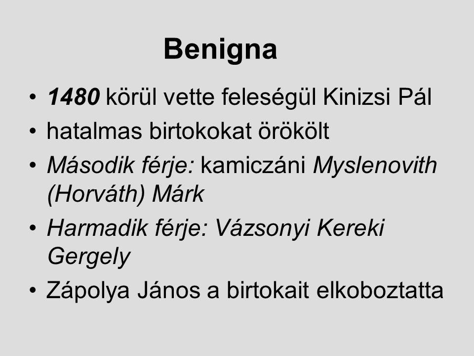 Benigna 1480 körül vette feleségül Kinizsi Pál hatalmas birtokokat örökölt Második férje: kamiczáni Myslenovith (Horváth) Márk Harmadik férje: Vázsony