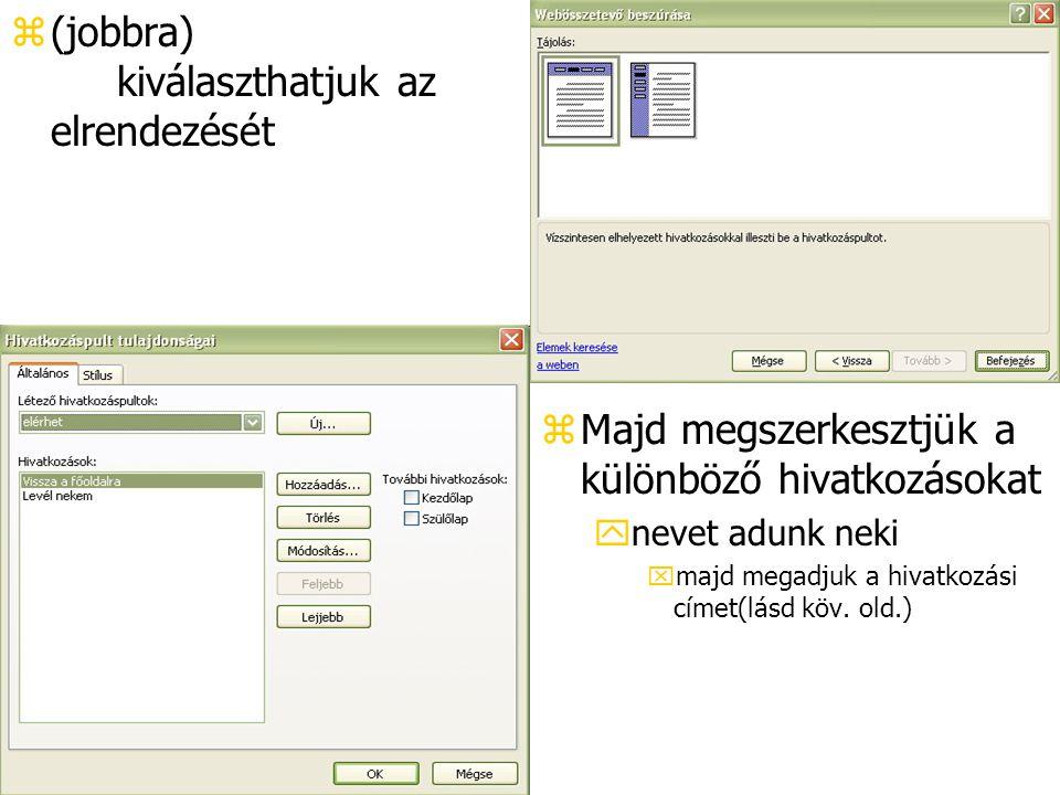 z(jobbra) kiválaszthatjuk az elrendezését z Majd megszerkesztjük a különböző hivatkozásokat ynevet adunk neki xmajd megadjuk a hivatkozási címet(lásd