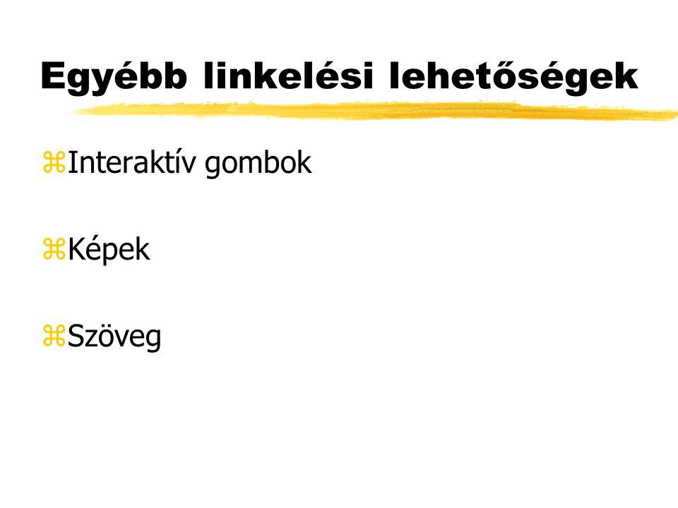Egyébb linkelési lehetőségek zInteraktív gombok zKépek zSzöveg