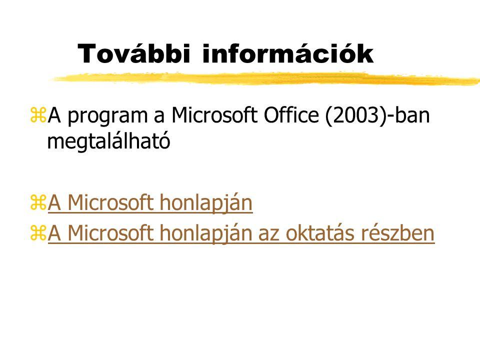 További információk zA program a Microsoft Office (2003)-ban megtalálható zA Microsoft honlapjánA Microsoft honlapján zA Microsoft honlapján az oktatá