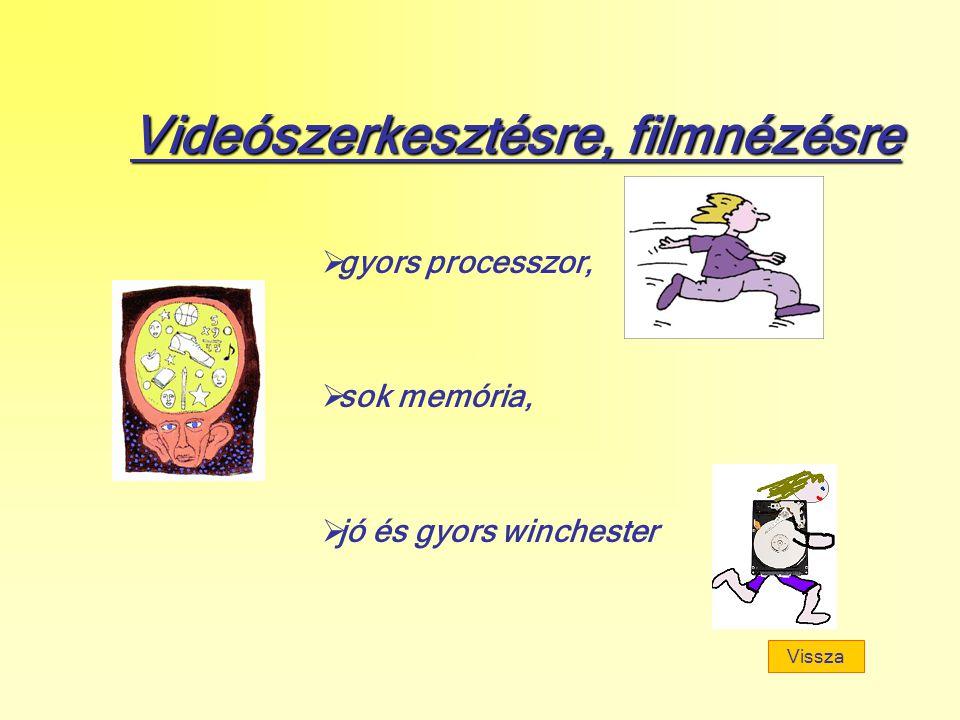 Videószerkesztésre, filmnézésre  gyors processzor,  sok memória,  jó és gyors winchester Vissza