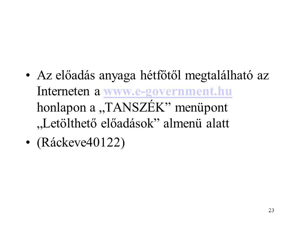 """23 Az előadás anyaga hétfőtől megtalálható az Interneten a www.e-government.hu honlapon a """"TANSZÉK menüpont """"Letölthető előadások almenü alattwww.e-government.hu (Ráckeve40122)"""