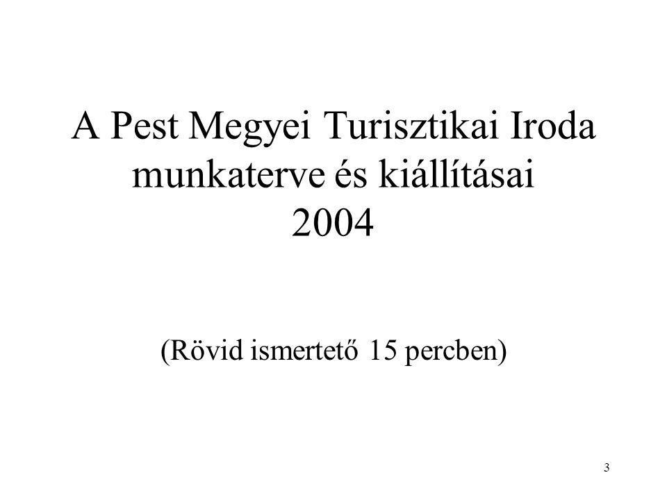 3 A Pest Megyei Turisztikai Iroda munkaterve és kiállításai 2004 (Rövid ismertető 15 percben)
