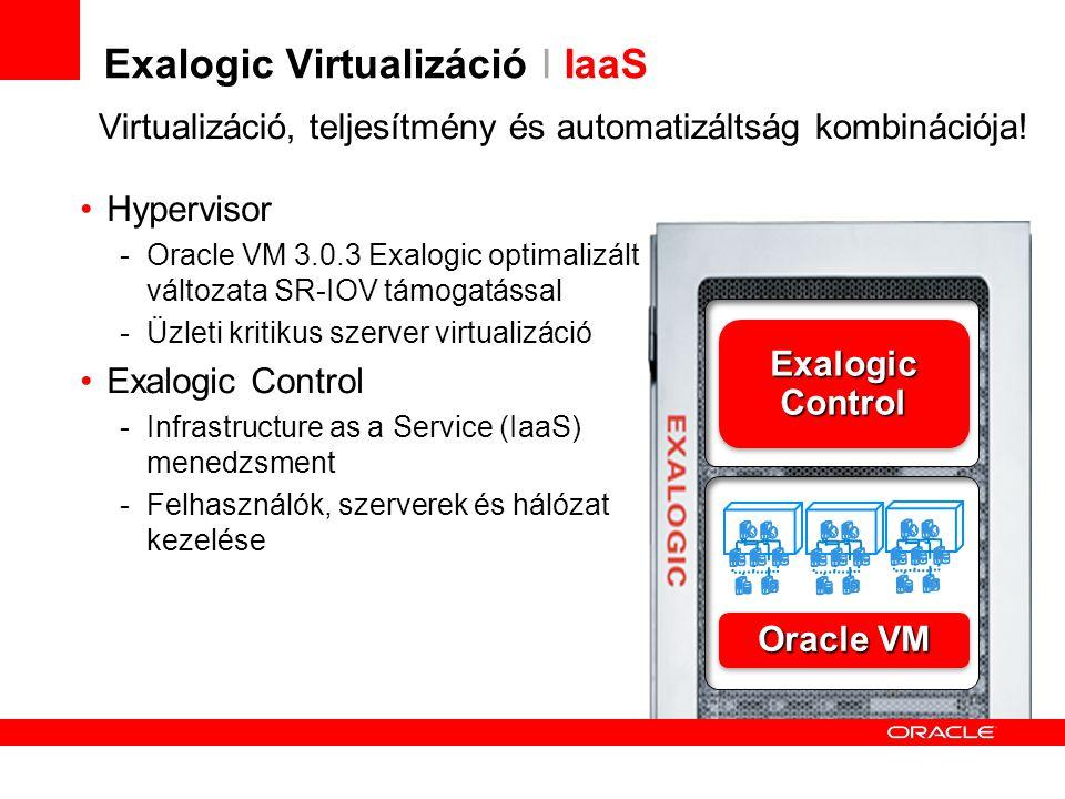 Exalogic Virtualizáció I IaaS Hypervisor -Oracle VM 3.0.3 Exalogic optimalizált változata SR-IOV támogatással -Üzleti kritikus szerver virtualizáció Exalogic Control -Infrastructure as a Service (IaaS) menedzsment -Felhasználók, szerverek és hálózat kezelése Virtualizáció, teljesítmény és automatizáltság kombinációja.
