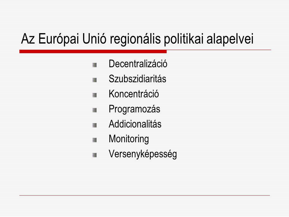 Az Európai Unió regionális politikai alapelvei Decentralizáció Szubszidiaritás Koncentráció Programozás Addicionalitás Monitoring Versenyképesség
