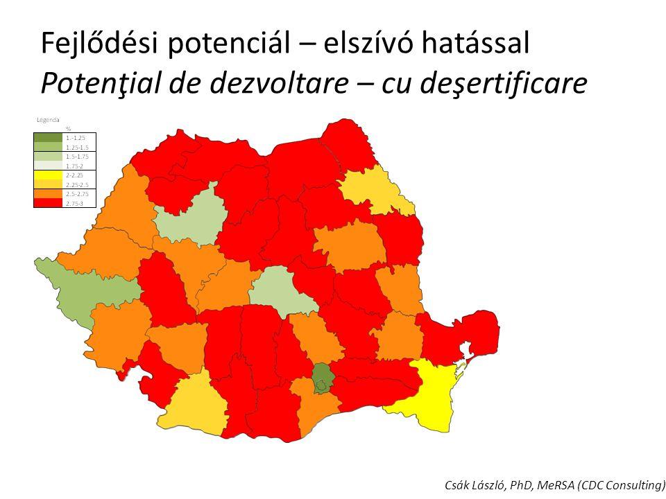 Következtetések Regionális autonómia: – 1997-2004 trendhez képest jelentősen javuló értékek: BT, IS, VN, CL, DB, PH (6) jelentősen romló értékek: HD, CS, AR, MH, TL, CT, BZ, BC, MS, CV, SM, BH (12) – Saját tervezéssel a potenciál kihasználásáért – Kisebb régiók az elszívó hatás csökkentéséért – Saját intézményrendszer és regionális partnerség – KSK Alapok decentralizációja Országos koordináció: – Irányító hatósági szerepkörök a központban – Általános célok rögzítése: Nemzeti Területrendezési Terv Kohéziós Politika EU2020 A régiók és a kormány partnersége Régió alatti szintek megerősítése: – CLLD – LEADER – ITI Csák László, PhD, MeRSA (CDC Consulting)