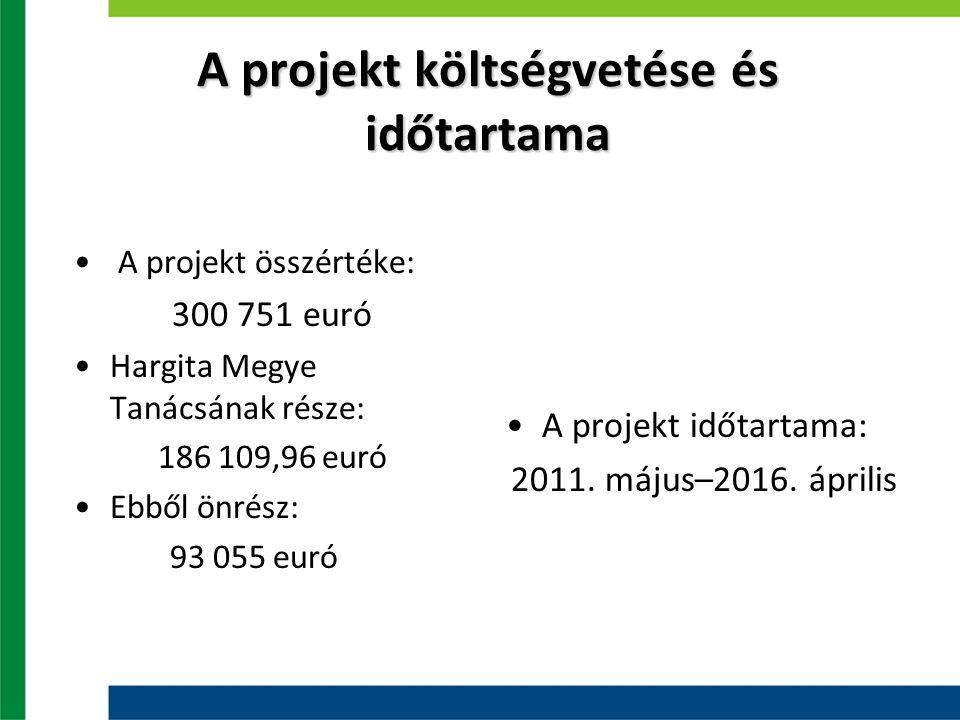 A projekt költségvetése és időtartama A projekt összértéke: 300 751 euró Hargita Megye Tanácsának része: 186 109,96 euró Ebből önrész: 93 055 euró A projekt időtartama: 2011.