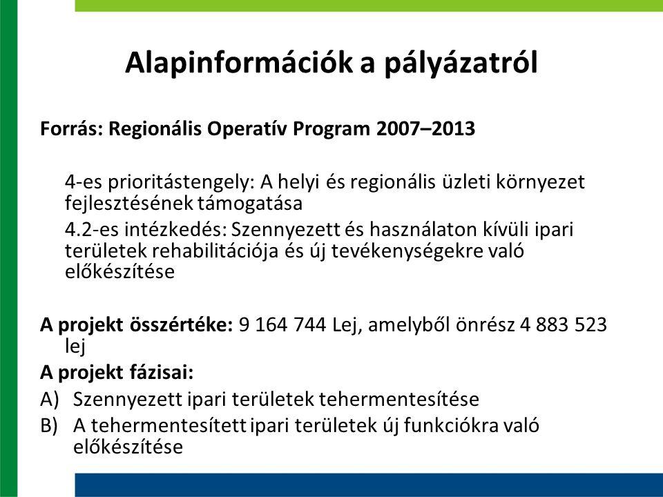 Alapinformációk a pályázatról Forrás: Regionális Operatív Program 2007–2013 4-es prioritástengely: A helyi és regionális üzleti környezet fejlesztésének támogatása 4.2-es intézkedés: Szennyezett és használaton kívüli ipari területek rehabilitációja és új tevékenységekre való előkészítése A projekt összértéke: 9 164 744 Lej, amelyből önrész 4 883 523 lej A projekt fázisai: A)Szennyezett ipari területek tehermentesítése B)A tehermentesített ipari területek új funkciókra való előkészítése