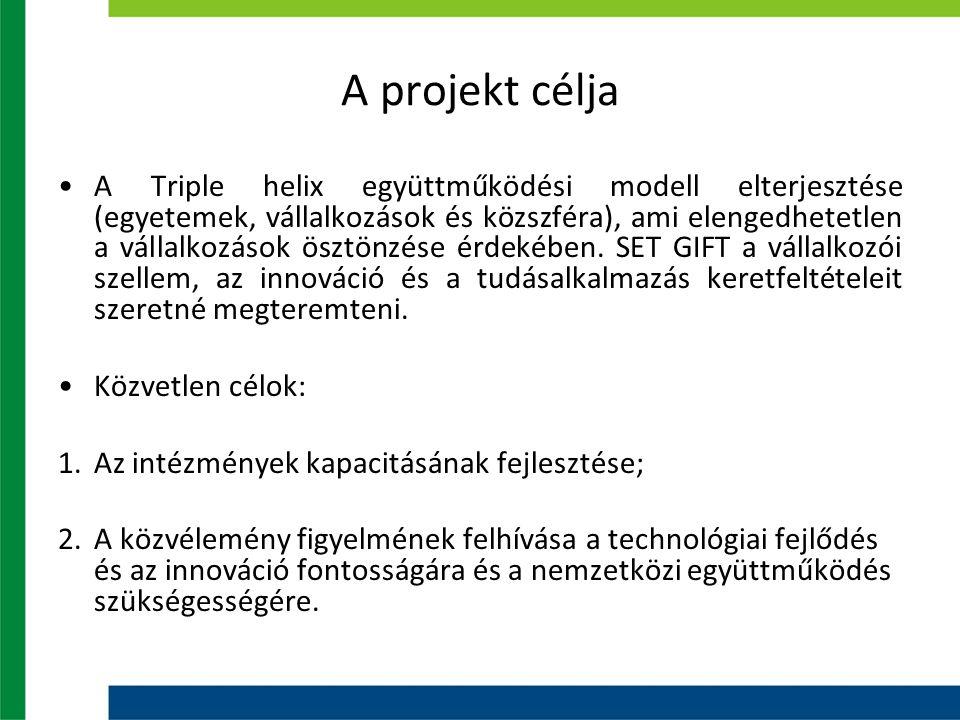 A projekt célja A Triple helix együttműködési modell elterjesztése (egyetemek, vállalkozások és közszféra), ami elengedhetetlen a vállalkozások ösztön