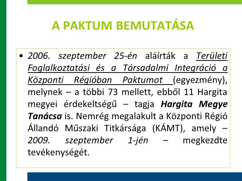 A PAKTUM BEMUTATÁSA 2006. szeptember 25-én aláírták a Területi Foglalkoztatási és a Társadalmi Integráció a Központi Régióban Paktumot (egyezmény), me