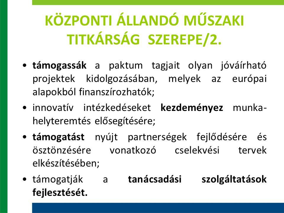 KÖZPONTI ÁLLANDÓ MŰSZAKI TITKÁRSÁG SZEREPE/2. támogassák a paktum tagjait olyan jóváírható projektek kidolgozásában, melyek az európai alapokból finan