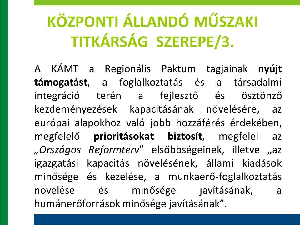KÖZPONTI ÁLLANDÓ MŰSZAKI TITKÁRSÁG SZEREPE/3. A KÁMT a Regionális Paktum tagjainak nyújt támogatást, a foglalkoztatás és a társadalmi integráció terén