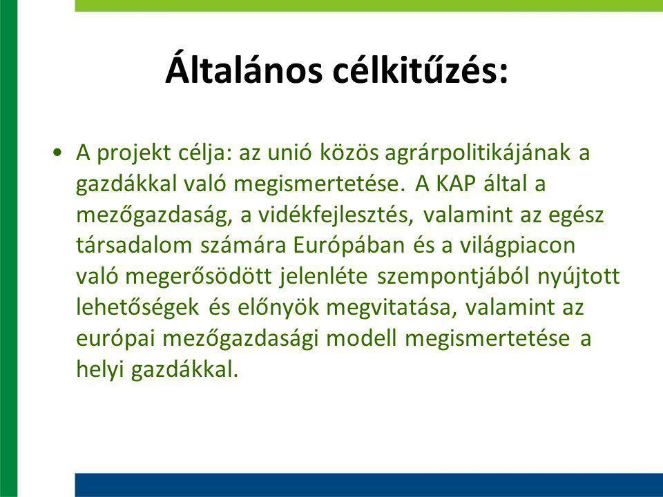 Általános célkitűzés: A projekt célja: az unió közös agrárpolitikájának a gazdákkal való megismertetése.