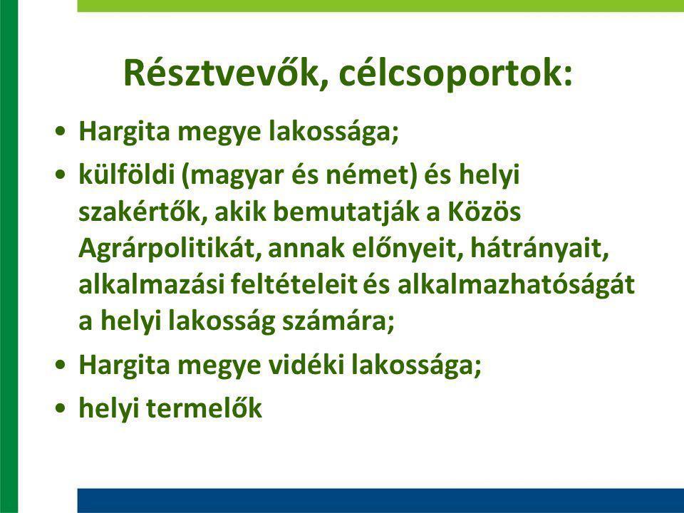 Résztvevők, célcsoportok: Hargita megye lakossága; külföldi (magyar és német) és helyi szakértők, akik bemutatják a Közös Agrárpolitikát, annak előnyeit, hátrányait, alkalmazási feltételeit és alkalmazhatóságát a helyi lakosság számára; Hargita megye vidéki lakossága; helyi termelők