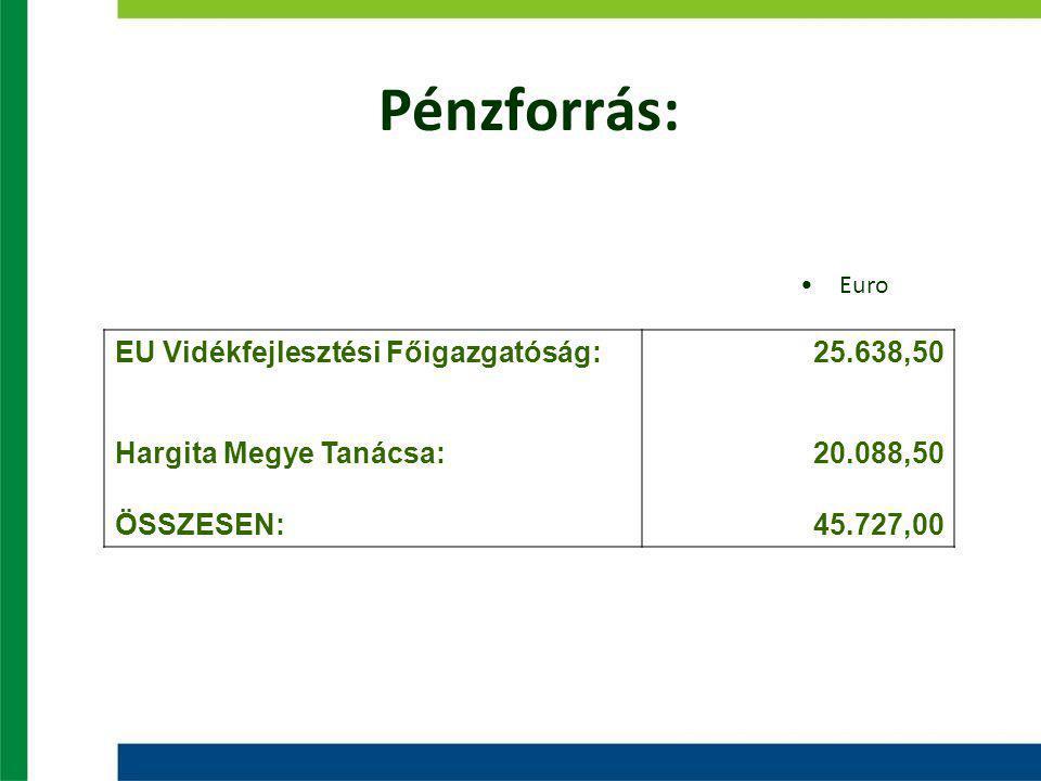 Pénzforrás: EU Vidékfejlesztési Főigazgatóság:25.638,50 Hargita Megye Tanácsa:20.088,50 ÖSSZESEN:45.727,00 Euro