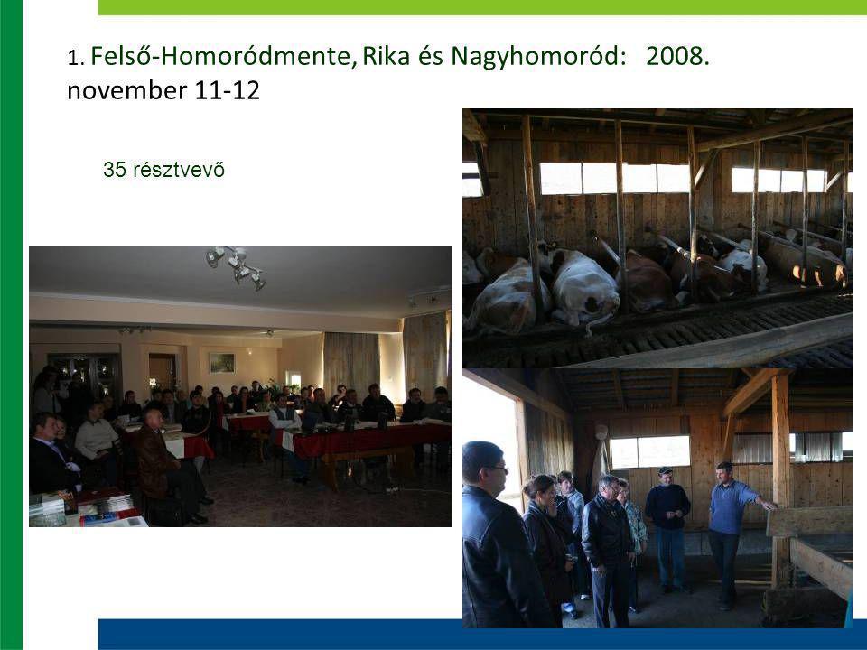 1. Felső-Homoródmente, Rika és Nagyhomoród: 2008. november 11-12 35 résztvevő