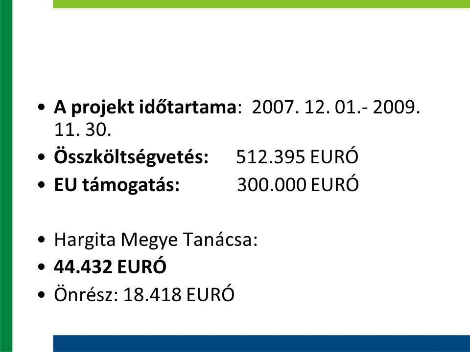 A projekt időtartama: 2007. 12. 01.- 2009. 11. 30.