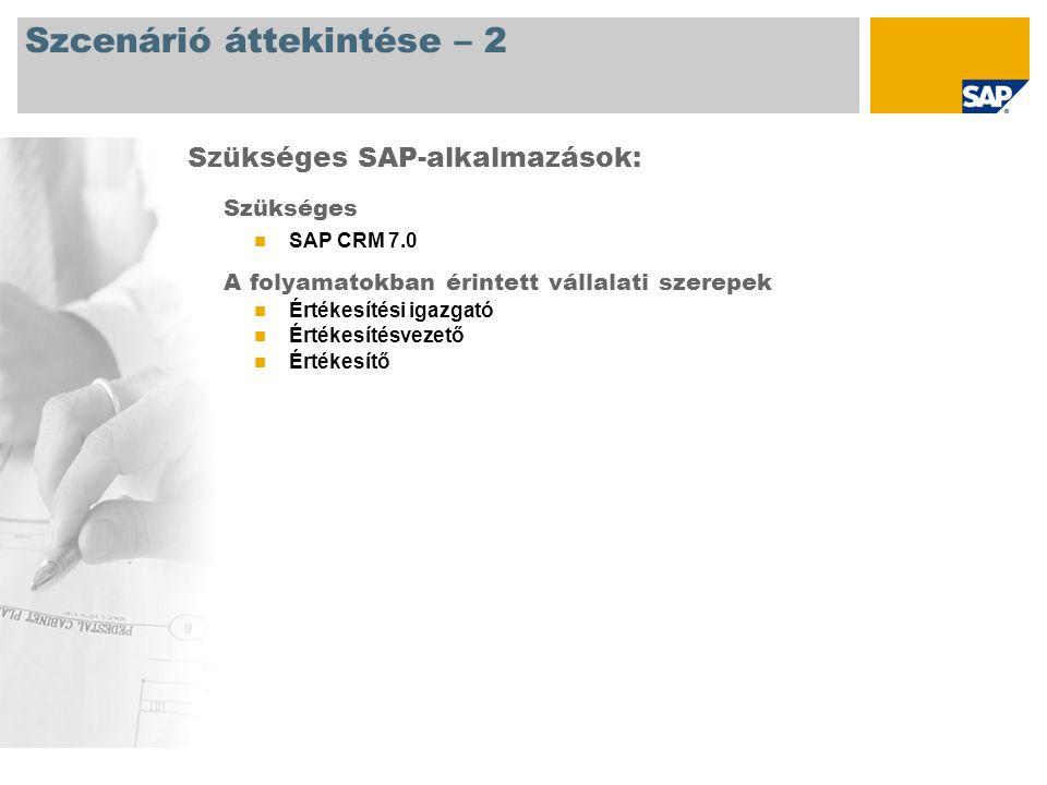 Szcenárió áttekintése – 2 Szükséges SAP CRM 7.0 A folyamatokban érintett vállalati szerepek Értékesítési igazgató Értékesítésvezető Értékesítő Szükséges SAP-alkalmazások: