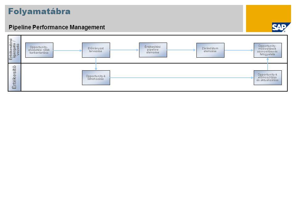 Folyamatábra Pipeline Performance Management Értékesíté s i igazgató / vezető Értékesítő Opportunity- elvesztési ráták karbantartása Zárásdátum elemzése Előirányzat tervezése Értékesítési pipeline elemzése Opportunity-k létrehozása Opportunity- módosítások azonosítása és felügyelete Opportunity-k előmozdítása és aktualizálása