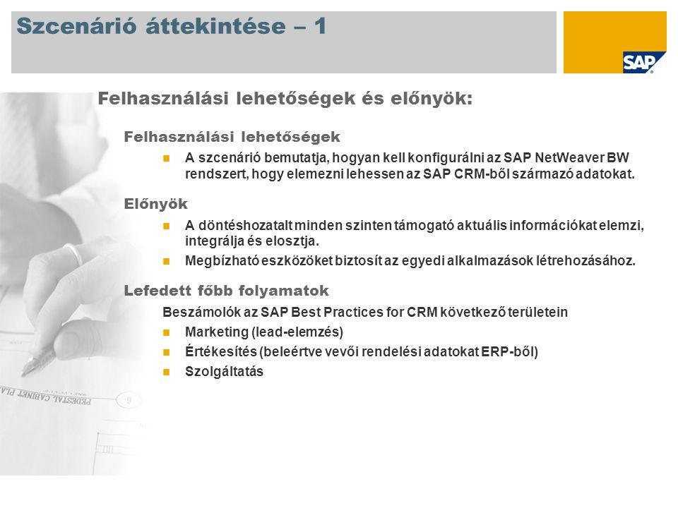 Szcenárió áttekintése – 1 Felhasználási lehetőségek A szcenárió bemutatja, hogyan kell konfigurálni az SAP NetWeaver BW rendszert, hogy elemezni lehessen az SAP CRM-ből származó adatokat.