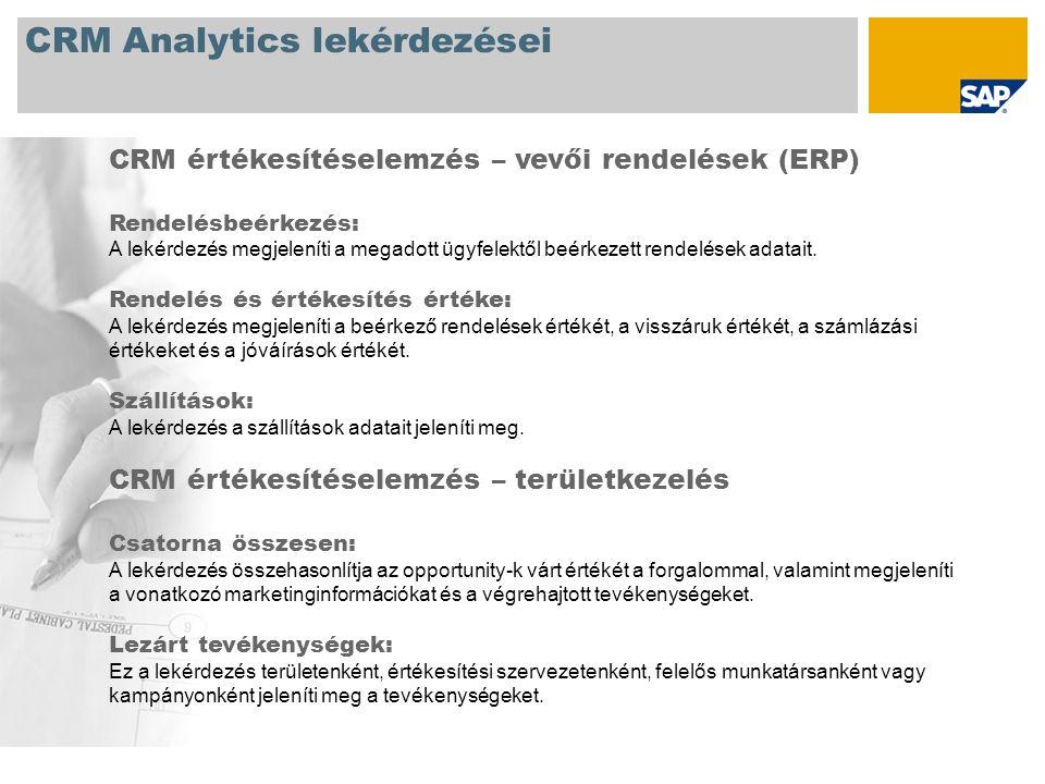 CRM Analytics lekérdezései CRM értékesítéselemzés – vevői rendelések (ERP) Rendelésbeérkezés: A lekérdezés megjeleníti a megadott ügyfelektől beérkezett rendelések adatait.