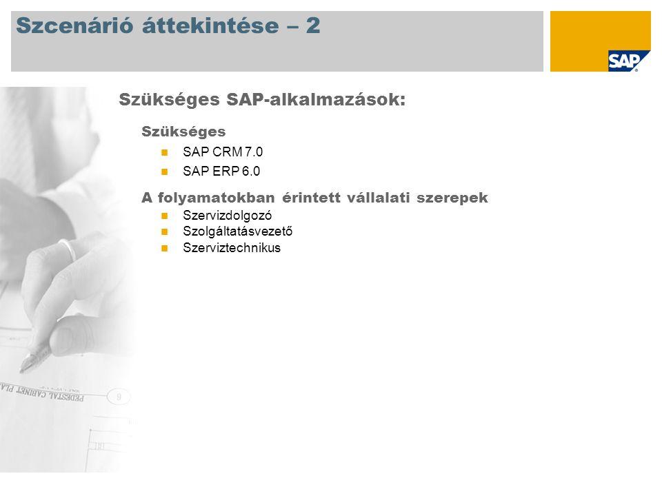 Szcenárió áttekintése – 2 Szükséges SAP CRM 7.0 SAP ERP 6.0 A folyamatokban érintett vállalati szerepek Szervizdolgozó Szolgáltatásvezető Szerviztechn