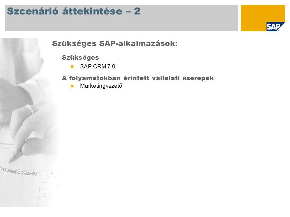 Szcenárió áttekintése – 2 Szükséges SAP CRM 7.0 A folyamatokban érintett vállalati szerepek Marketingvezető Szükséges SAP-alkalmazások: