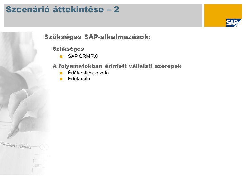 Szcenárió áttekintése – 2 Szükséges SAP CRM 7.0 A folyamatokban érintett vállalati szerepek Értékesítési vezető Értékesítő Szükséges SAP-alkalmazások: