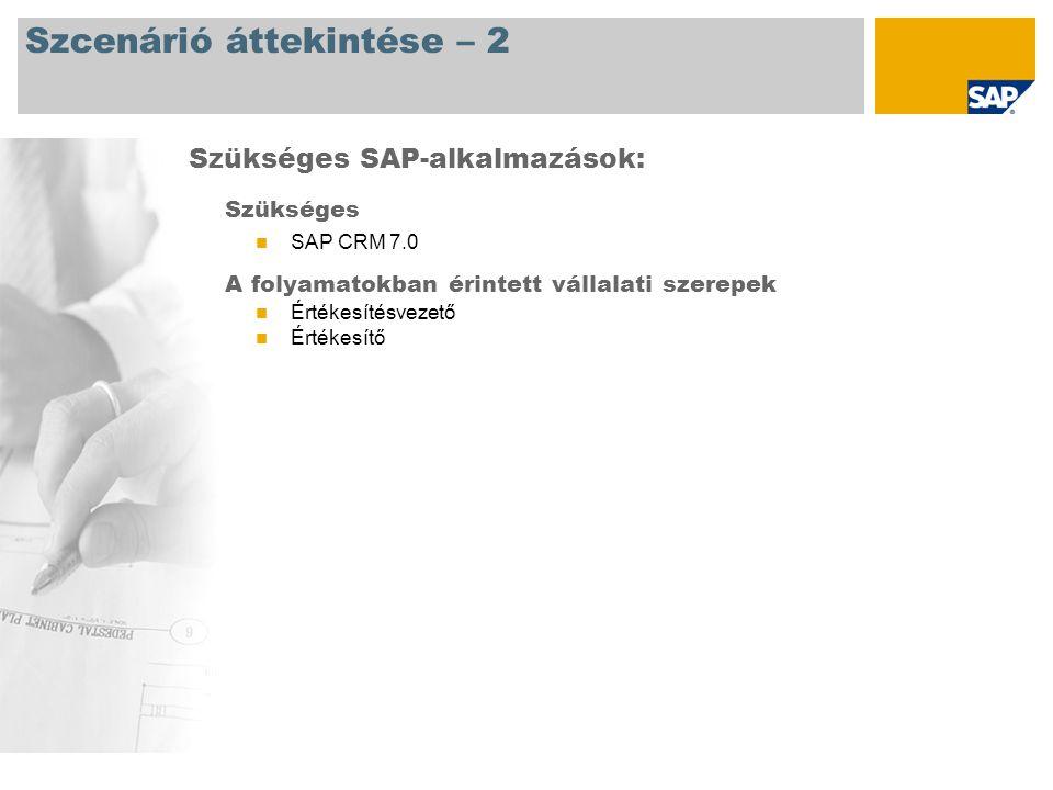 Szcenárió áttekintése – 2 Szükséges SAP CRM 7.0 A folyamatokban érintett vállalati szerepek Értékesítésvezető Értékesítő Szükséges SAP-alkalmazások: