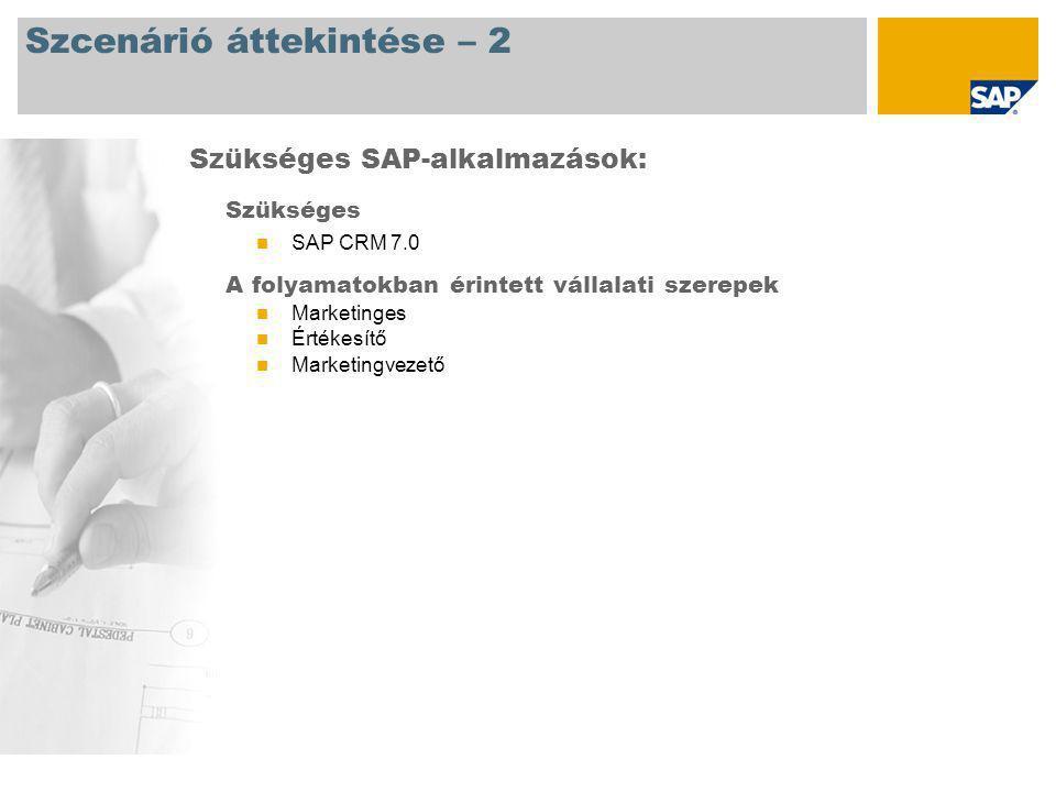 Szcenárió áttekintése – 2 Szükséges SAP CRM 7.0 A folyamatokban érintett vállalati szerepek Marketinges Értékesítő Marketingvezető Szükséges SAP-alkal