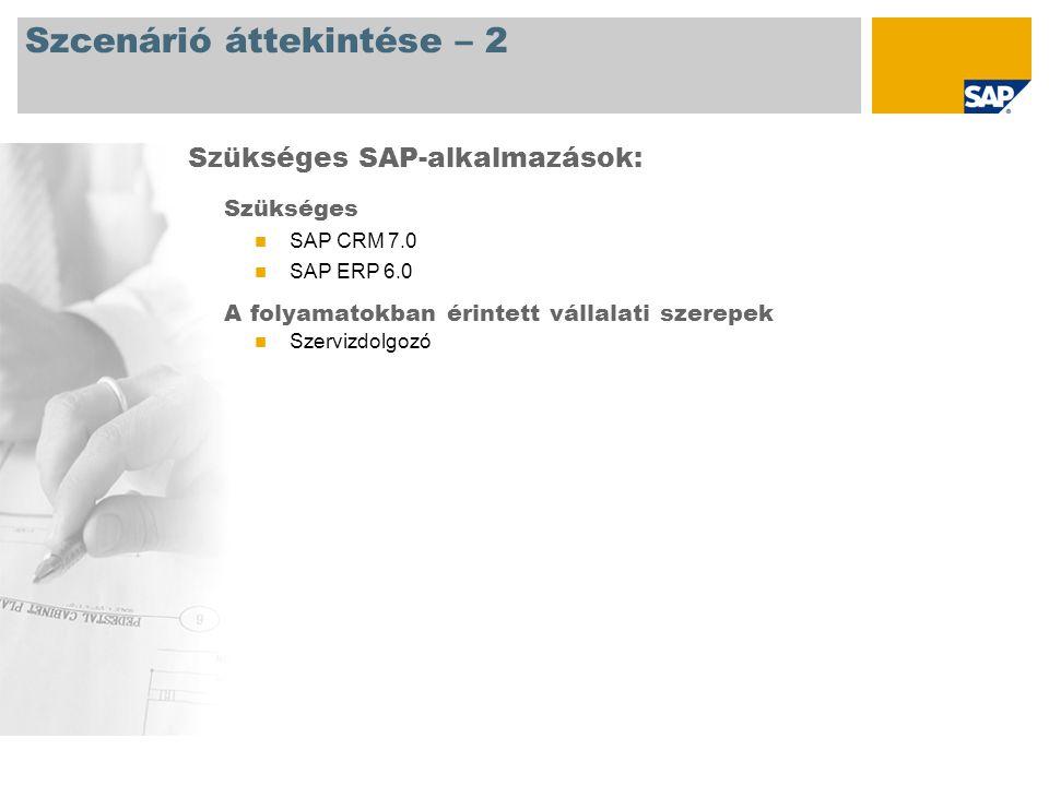 Szcenárió áttekintése – 2 Szükséges SAP CRM 7.0 SAP ERP 6.0 A folyamatokban érintett vállalati szerepek Szervizdolgozó Szükséges SAP-alkalmazások: