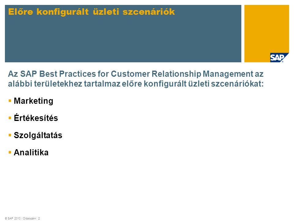 © SAP 2010 / Oldalszám: 2 Az SAP Best Practices for Customer Relationship Management az alábbi területekhez tartalmaz előre konfigurált üzleti szcenáriókat:  Marketing  Értékesítés  Szolgáltatás  Analitika Előre konfigurált üzleti szcenáriók