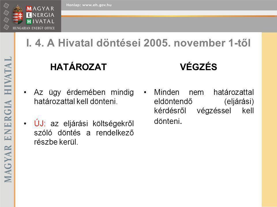 I. 4. A Hivatal döntései 2005. november 1-től HATÁROZAT Az ügy érdemében mindig határozattal kell dönteni. ÚJ: az eljárási költségekről szóló döntés a