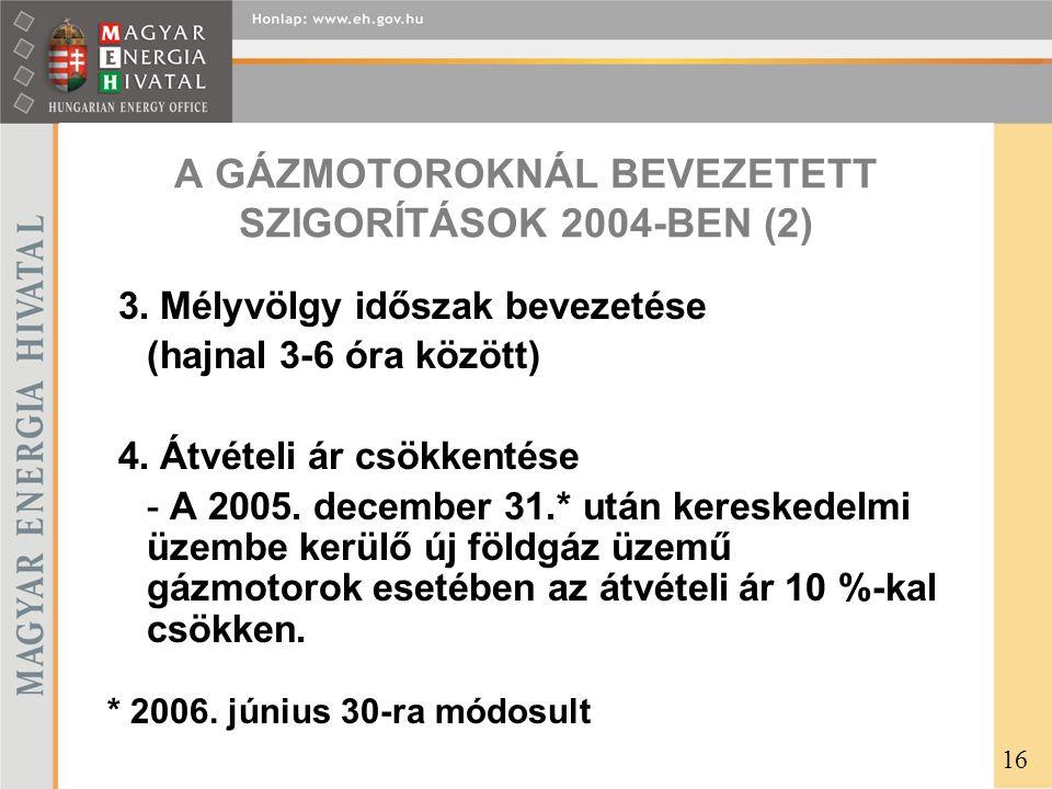 A GÁZMOTOROKNÁL BEVEZETETT SZIGORÍTÁSOK 2004-BEN (2) 3.