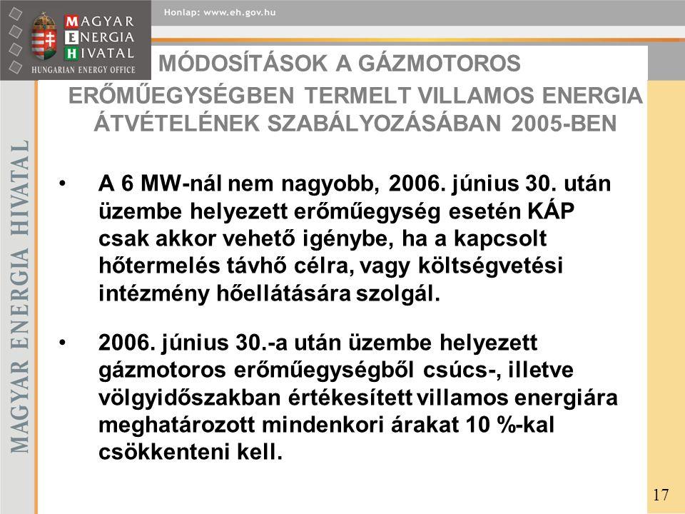 ERŐMŰEGYSÉGBEN TERMELT VILLAMOS ENERGIA ÁTVÉTELÉNEK SZABÁLYOZÁSÁBAN 2005-BEN A 6 MW-nál nem nagyobb, 2006.