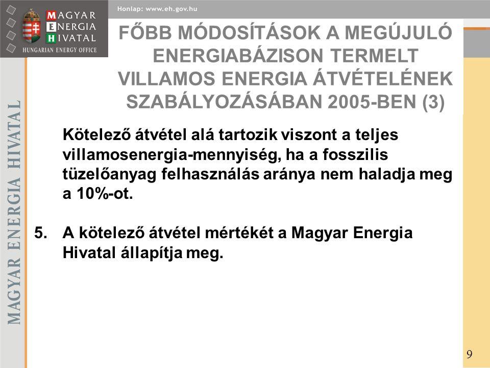 Kötelező átvétel alá tartozik viszont a teljes villamosenergia-mennyiség, ha a fosszilis tüzelőanyag felhasználás aránya nem haladja meg a 10%-ot.