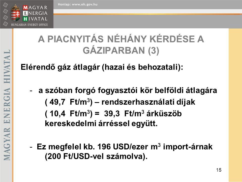15 A PIACNYITÁS NÉHÁNY KÉRDÉSE A GÁZIPARBAN (3) Elérendő gáz átlagár (hazai és behozatali): - a szóban forgó fogyasztói kör belföldi átlagára ( 49,7 Ft/m 3 ) – rendszerhasználati díjak ( 10,4 Ft/m 3 ) = 39,3 Ft/m 3 árküszöb kereskedelmi árréssel együtt.