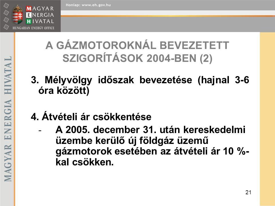 21 A GÁZMOTOROKNÁL BEVEZETETT SZIGORÍTÁSOK 2004-BEN (2) 3.