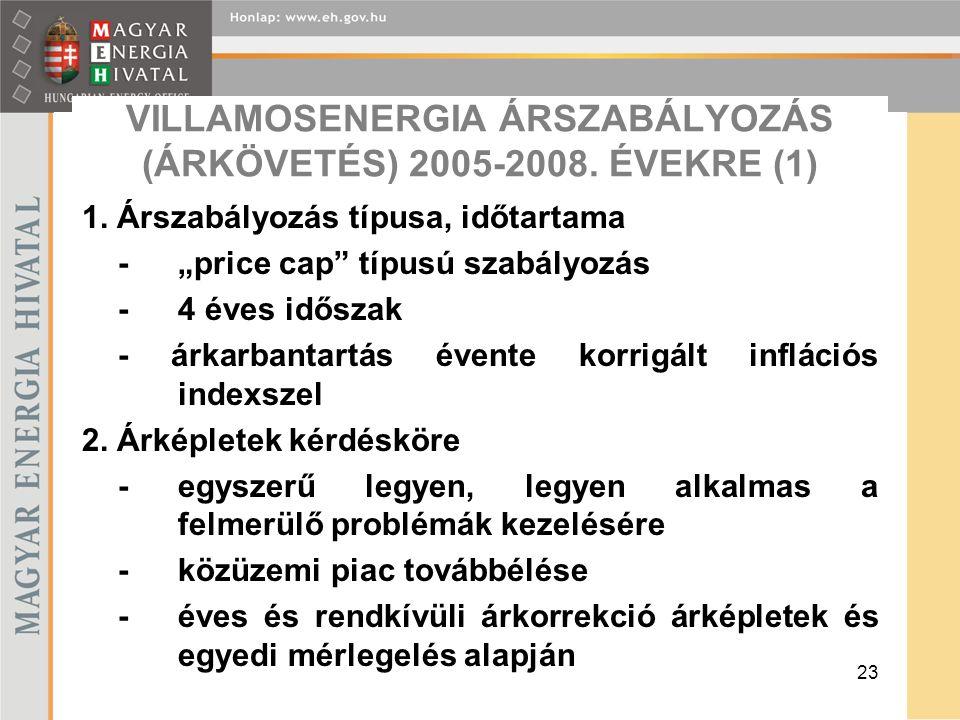23 VILLAMOSENERGIA ÁRSZABÁLYOZÁS (ÁRKÖVETÉS) 2005-2008.