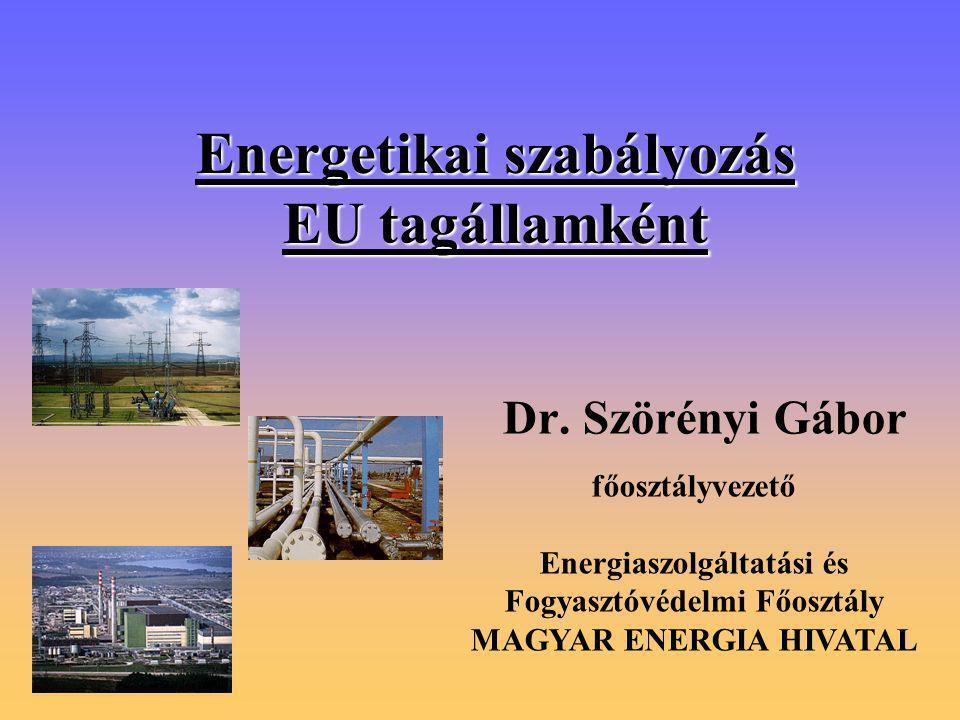 Energetikai szabályozás EU tagállamként Dr.