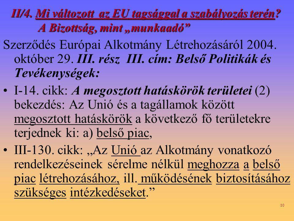 10 II/4.Mi változott az EU tagsággal a szabályozás terén.
